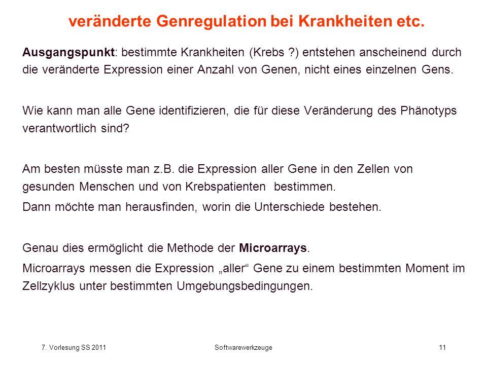 7. Vorlesung SS 2011Softwarewerkzeuge11 veränderte Genregulation bei Krankheiten etc.