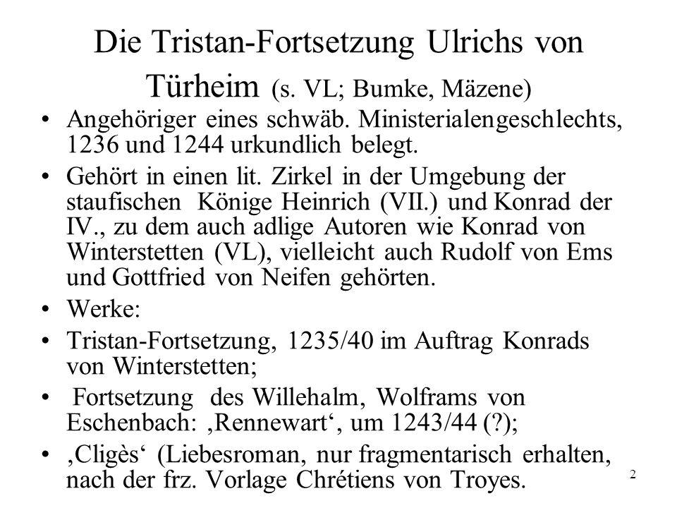 3 Die Tristan-Fortsetzung Ulrichs von Türheim: Überlieferung (s.