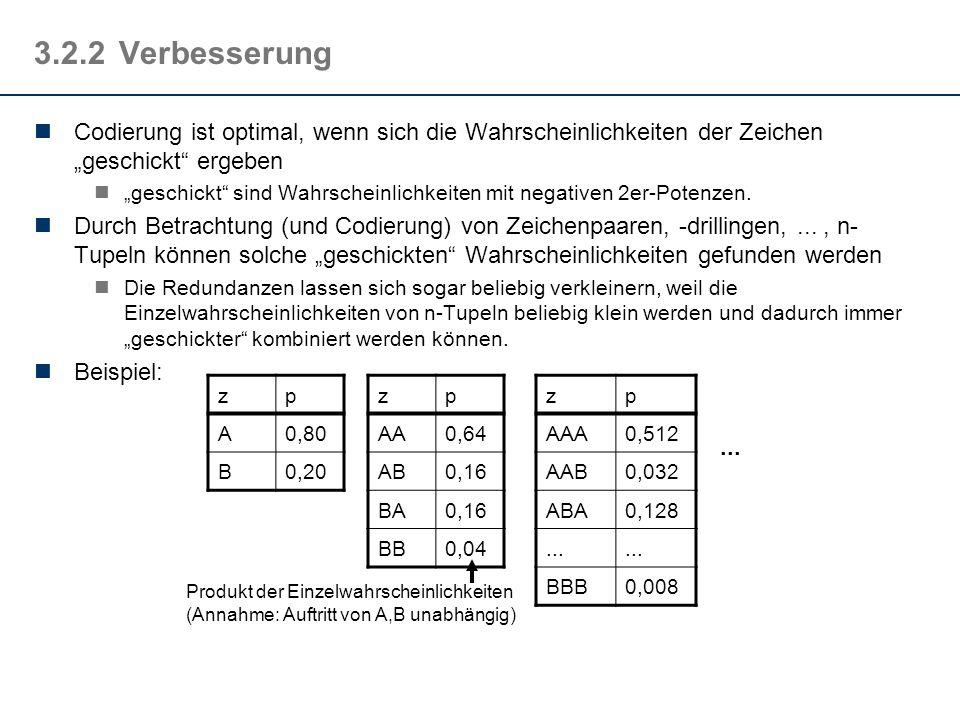 3.2.2Verbesserung Codierung ist optimal, wenn sich die Wahrscheinlichkeiten der Zeichen geschickt ergeben geschickt sind Wahrscheinlichkeiten mit nega