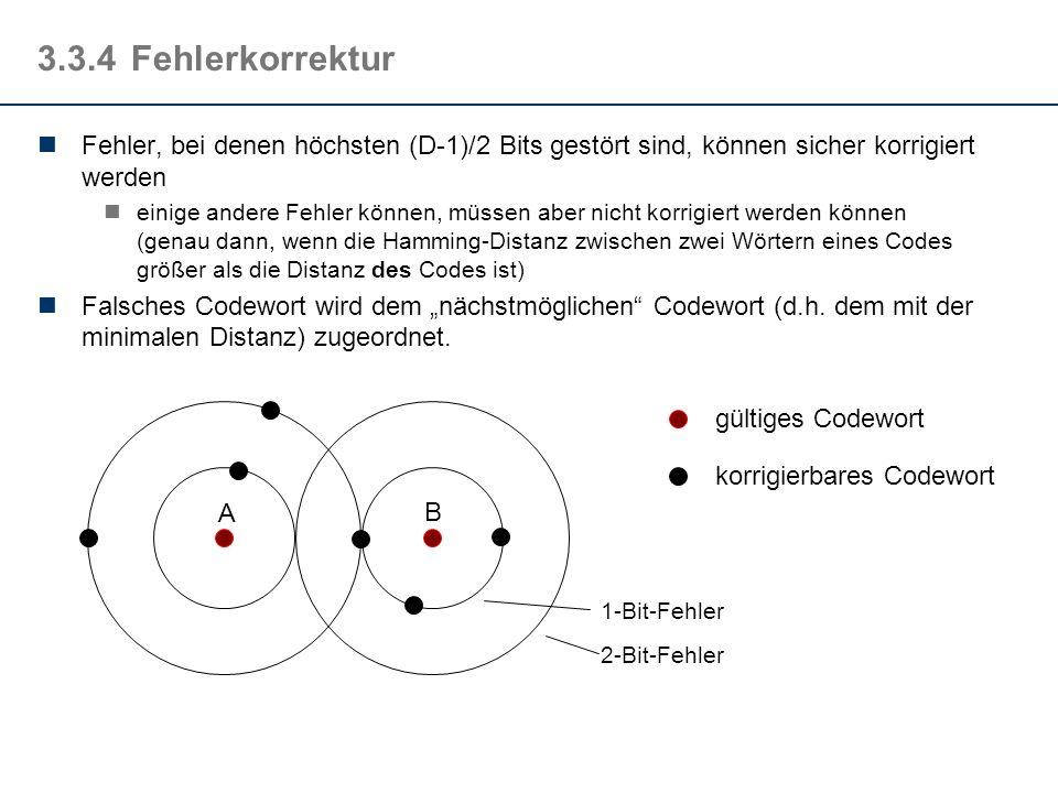 3.3.4Fehlerkorrektur Fehler, bei denen höchsten (D-1)/2 Bits gestört sind, können sicher korrigiert werden einige andere Fehler können, müssen aber ni