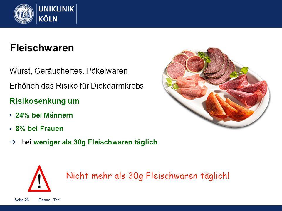 Datum | TitelSeite 26 Fleischwaren Wurst, Geräuchertes, Pökelwaren Erhöhen das Risiko für Dickdarmkrebs Risikosenkung um 24% bei Männern 8% bei Frauen