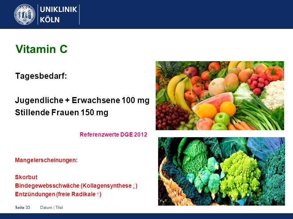 Datum | TitelSeite 33 Tagesbedarf: Jugendliche + Erwachsene 100 mg Stillende Frauen 150 mg Referenzwerte DGE 2012 Mangelerscheinungen: Skorbut Bindege