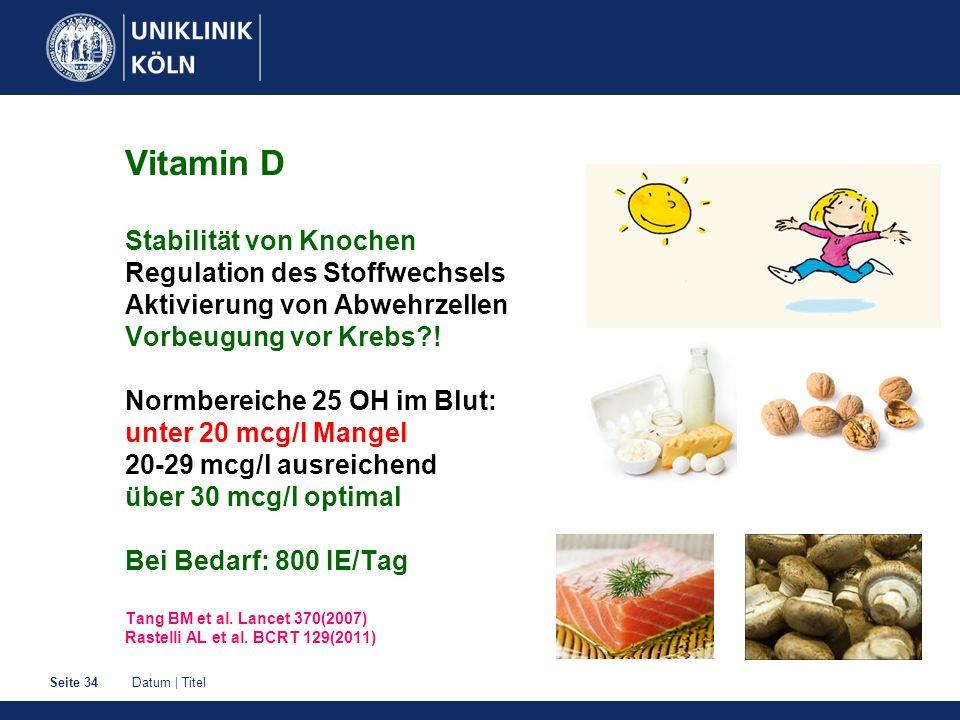 Datum | TitelSeite 34 Vitamin D Stabilität von Knochen Regulation des Stoffwechsels Aktivierung von Abwehrzellen Vorbeugung vor Krebs?! Normbereiche 2