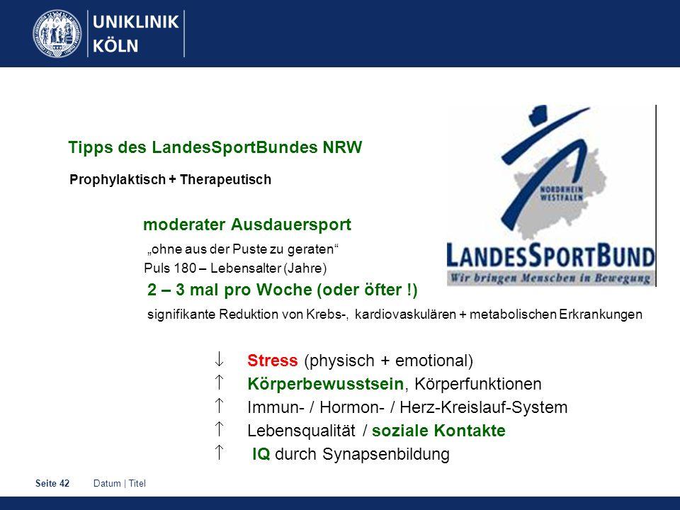 Datum | TitelSeite 42 Tipps des LandesSportBundes NRW Prophylaktisch + Therapeutisch moderater Ausdauersport ohne aus der Puste zu geraten Puls 180 –