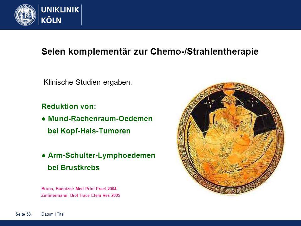 Datum | TitelSeite 58 Selen komplementär zur Chemo-/Strahlentherapie Klinische Studien ergaben: Reduktion von: Mund-Rachenraum-Oedemen bei Kopf-Hals-T