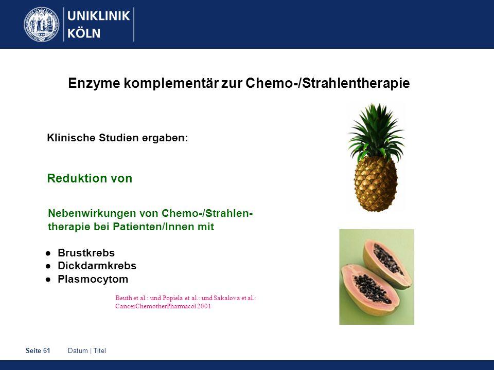 Datum | TitelSeite 61 Enzyme komplementär zur Chemo-/Strahlentherapie Klinische Studien ergaben: Reduktion von Nebenwirkungen von Chemo-/Strahlen- the