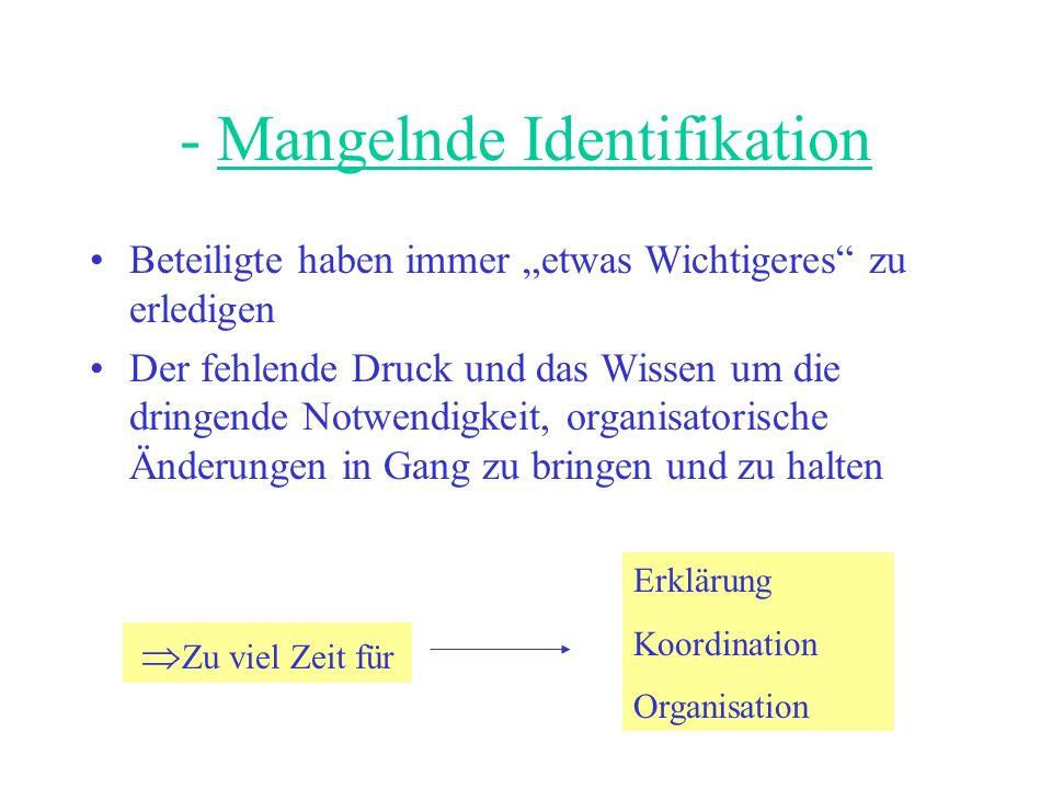 - Mangelnde Identifikation Beteiligte haben immer etwas Wichtigeres zu erledigen Der fehlende Druck und das Wissen um die dringende Notwendigkeit, organisatorische Änderungen in Gang zu bringen und zu halten Zu viel Zeit für Erklärung Koordination Organisation
