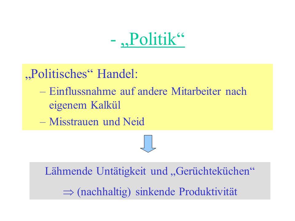 - Politik Politisches Handel: –Einflussnahme auf andere Mitarbeiter nach eigenem Kalkül –Misstrauen und Neid Lähmende Untätigkeit und Gerüchteküchen (nachhaltig) sinkende Produktivität