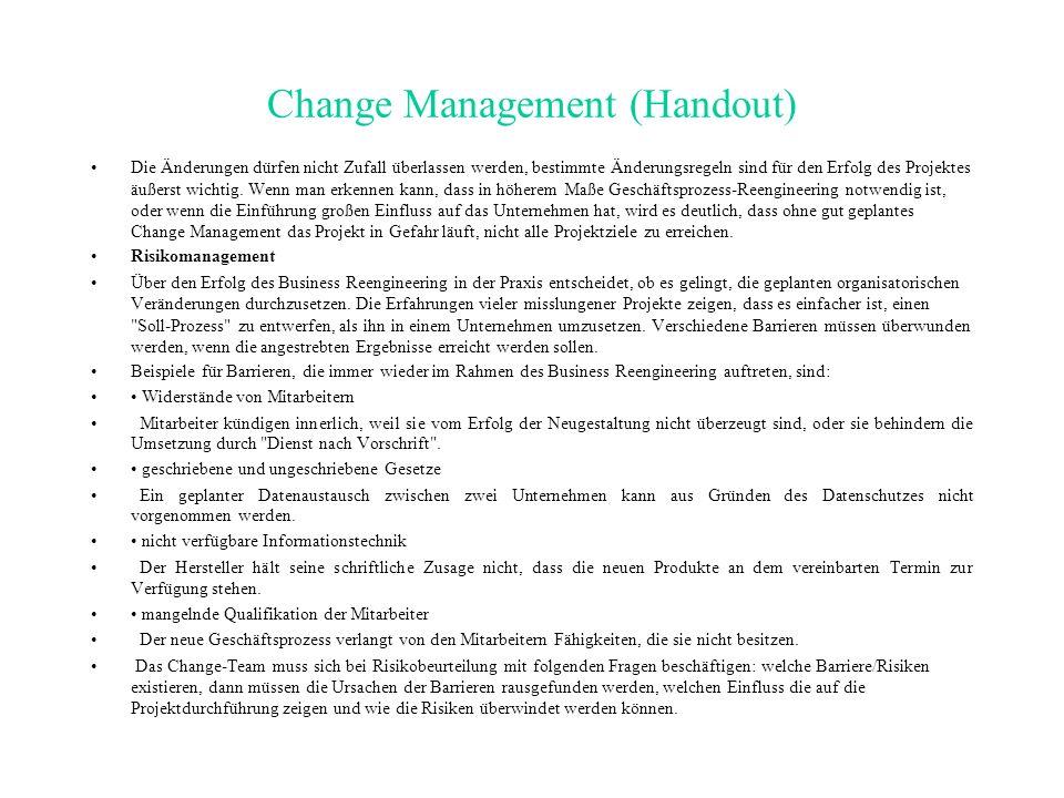 Fazit Change Management darf nicht als neue modische Management- Methode verstanden werden, es handelt sich viel mehr um eine wirksame Vorgehensweise zur Durchsetzung gewünschten Wandels im Unternehmen, bei der alle Aspekte der Organisation berührt werden Entscheidend für den Erfolg eines BR-Vorhabens ist, dass die Mitarbeiter des Unternehmens mit den Zielen, der Art und Weise des Vorgehens und den erzielten Ergebnissen einverstanden sind Es bedarf der eingehenden Analyse aller Einflussfaktoren, die für Erfolg und Misserfolg des geplanten Wandels verantwortlich sind.