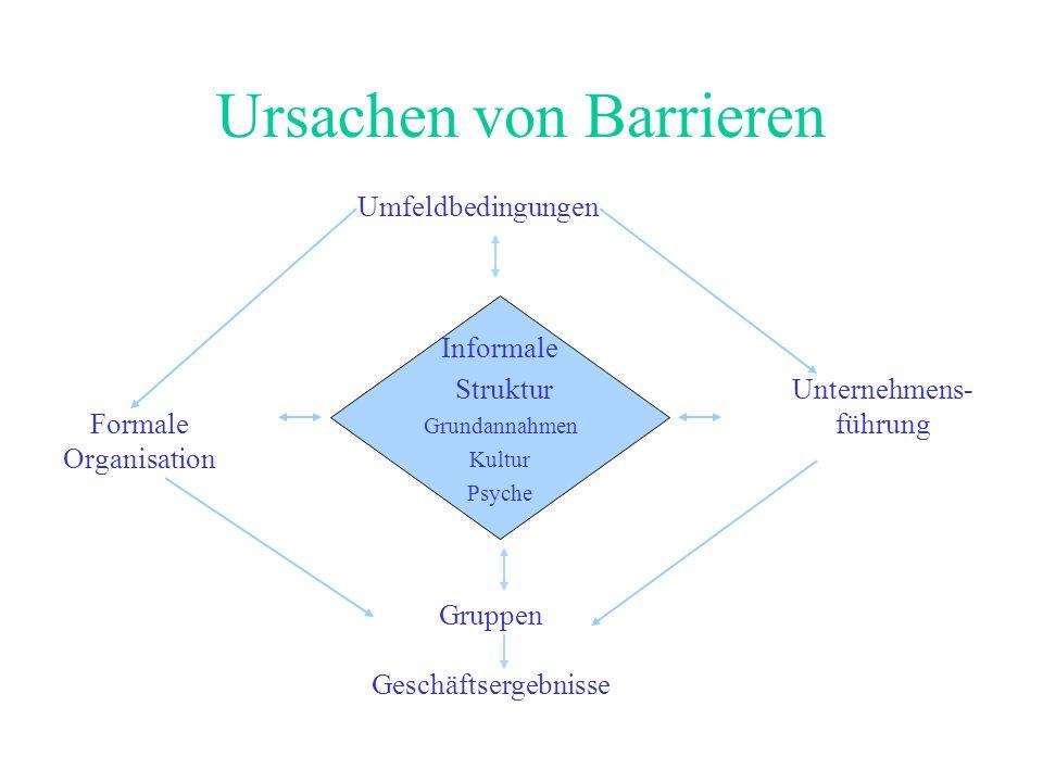 Ursachen von Barrieren Informale Struktur Grundannahmen Kultur Psyche Umfeldbedingungen Gruppen Geschäftsergebnisse Formale Organisation Unternehmens- führung