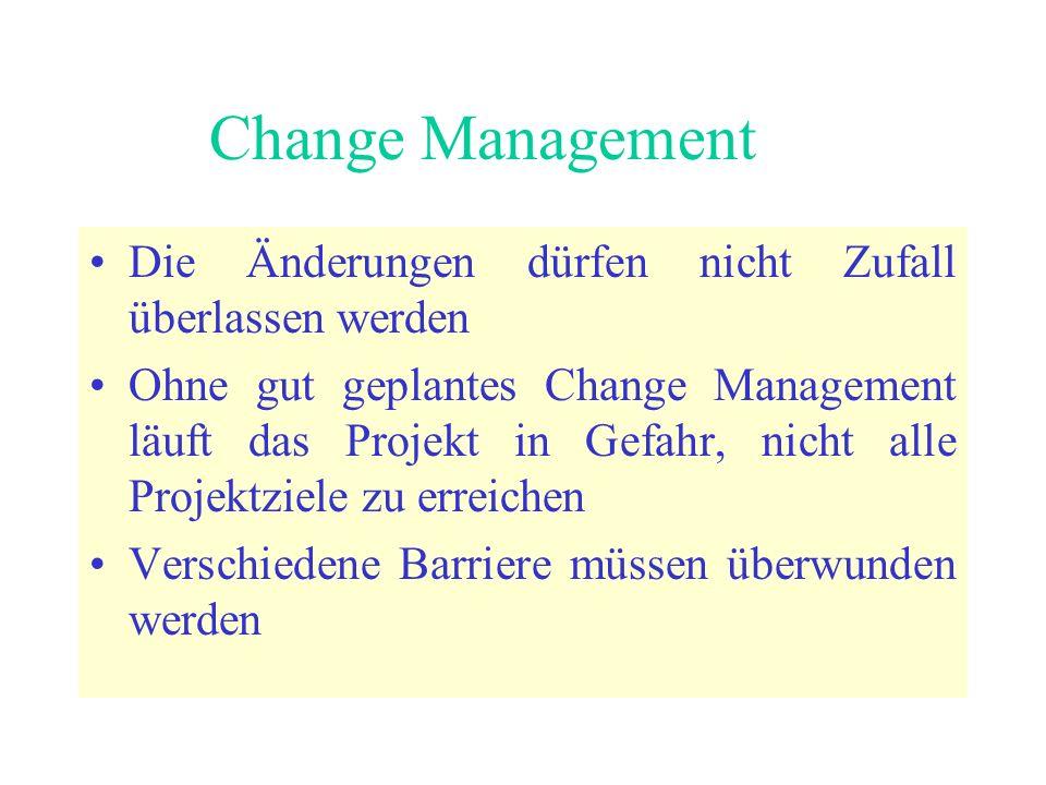 Change Management Die Änderungen dürfen nicht Zufall überlassen werden Ohne gut geplantes Change Management läuft das Projekt in Gefahr, nicht alle Projektziele zu erreichen Verschiedene Barriere müssen überwunden werden