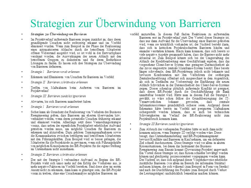 Strategien zur Überwindung von Barrieren Im Projektverlauf auftretende Barrieren zeigen zunächst an, dass deren grundlegende Ursachen nicht rechtzeitig erkannt und im Vorfeld eliminiert wurden.