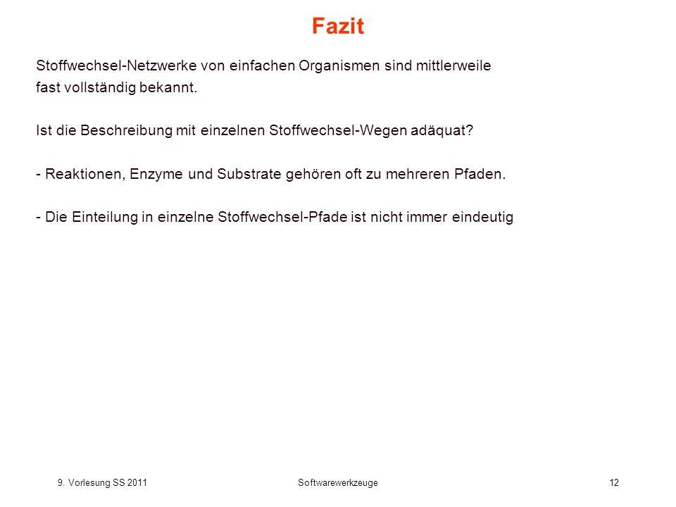 9. Vorlesung SS 2011Softwarewerkzeuge12 Fazit Stoffwechsel-Netzwerke von einfachen Organismen sind mittlerweile fast vollständig bekannt. Ist die Besc