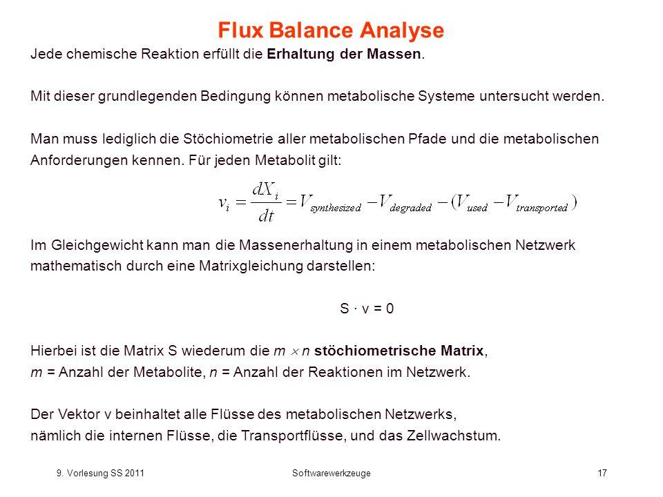 9. Vorlesung SS 2011Softwarewerkzeuge17 Flux Balance Analyse Jede chemische Reaktion erfüllt die Erhaltung der Massen. Mit dieser grundlegenden Beding