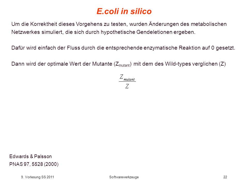 9. Vorlesung SS 2011Softwarewerkzeuge22 E.coli in silico Edwards & Palsson PNAS 97, 5528 (2000) Um die Korrektheit dieses Vorgehens zu testen, wurden