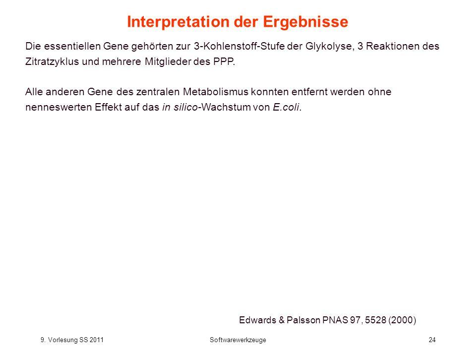 9. Vorlesung SS 2011Softwarewerkzeuge24 Interpretation der Ergebnisse Die essentiellen Gene gehörten zur 3-Kohlenstoff-Stufe der Glykolyse, 3 Reaktion