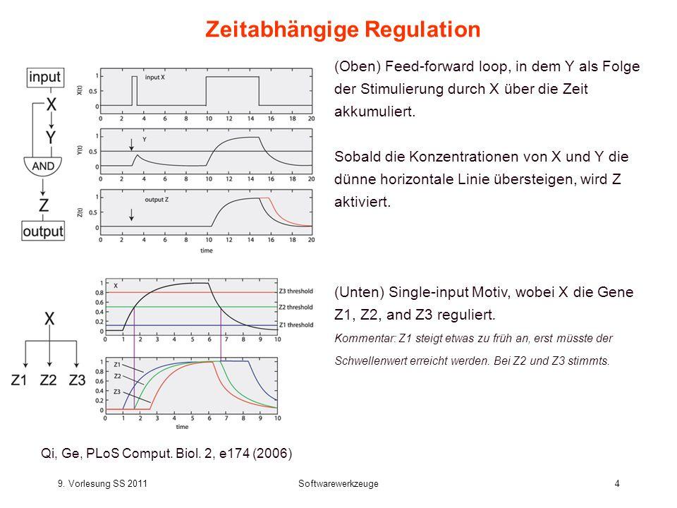 9. Vorlesung SS 2011Softwarewerkzeuge4 Zeitabhängige Regulation Qi, Ge, PLoS Comput. Biol. 2, e174 (2006) (Oben) Feed-forward loop, in dem Y als Folge