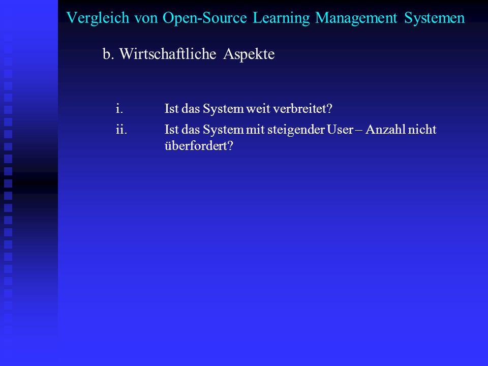 Vergleich von Open-Source Learning Management Systemen b. Wirtschaftliche Aspekte i. Ist das System weit verbreitet? ii. Ist das System mit steigender