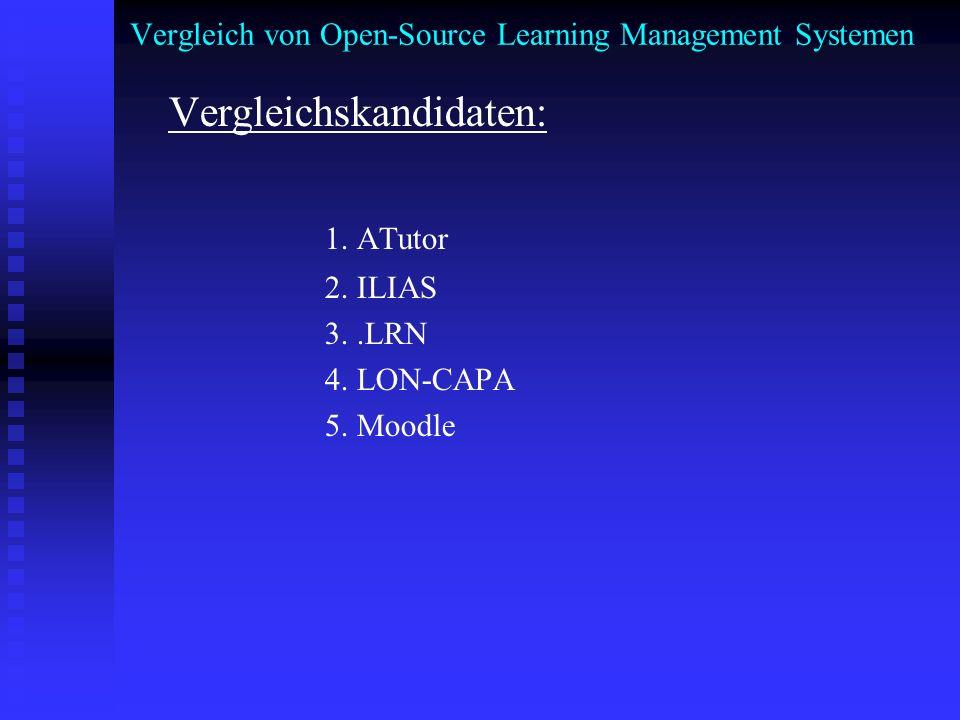 Vergleich von Open-Source Learning Management Systemen Vergleichskandidaten: 1. ATutor 2. ILIAS 3..LRN 4. LON-CAPA 5. Moodle