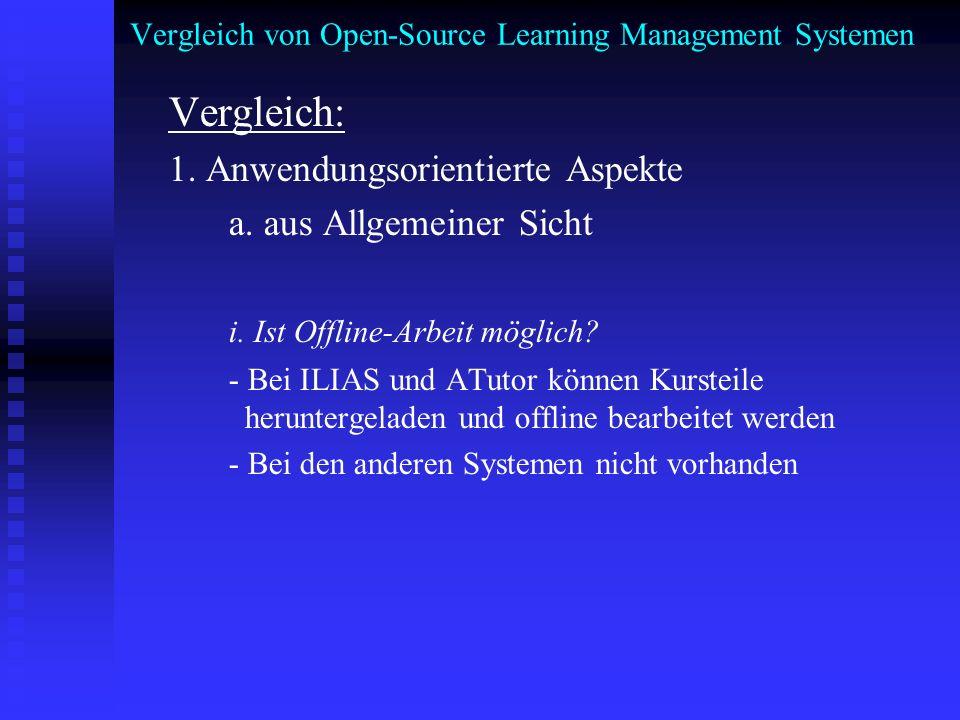 Vergleich von Open-Source Learning Management Systemen Vergleich: 1. Anwendungsorientierte Aspekte a. aus Allgemeiner Sicht i. Ist Offline-Arbeit mögl