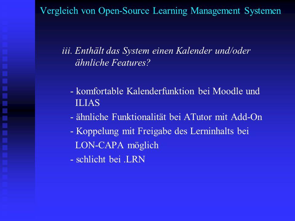 Vergleich von Open-Source Learning Management Systemen iii. Enthält das System einen Kalender und/oder ähnliche Features? - komfortable Kalenderfunkti