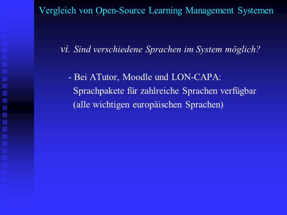 Vergleich von Open-Source Learning Management Systemen vi. Sind verschiedene Sprachen im System möglich? - Bei ATutor, Moodle und LON-CAPA: Sprachpake
