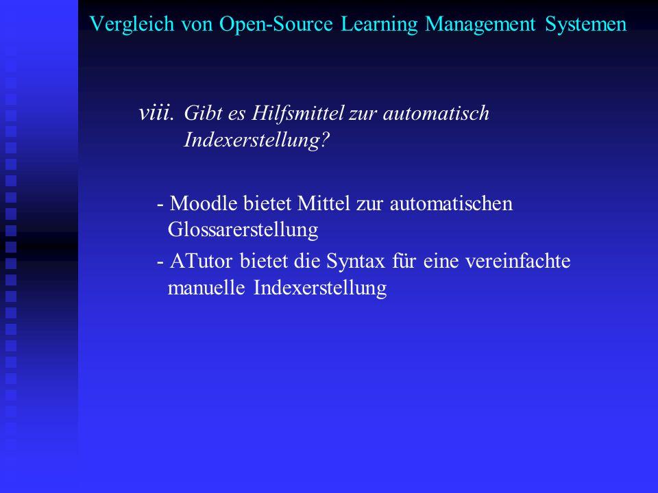Vergleich von Open-Source Learning Management Systemen viii. Gibt es Hilfsmittel zur automatisch Indexerstellung? - Moodle bietet Mittel zur automatis