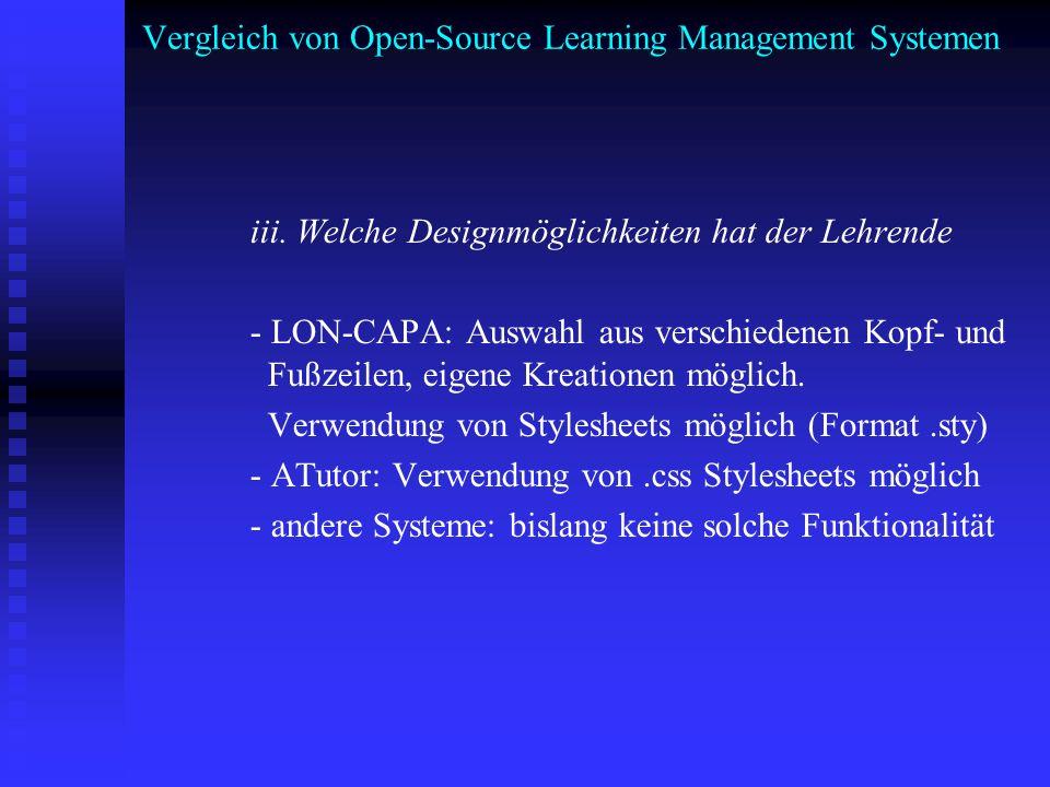 Vergleich von Open-Source Learning Management Systemen iii. Welche Designmöglichkeiten hat der Lehrende - LON-CAPA: Auswahl aus verschiedenen Kopf- un