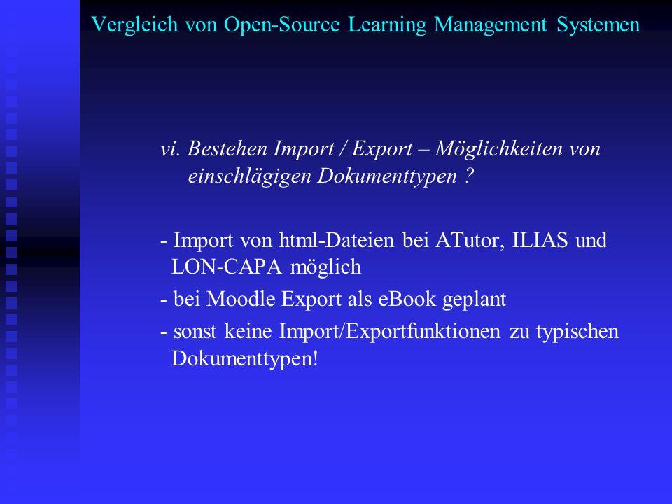 Vergleich von Open-Source Learning Management Systemen vi. Bestehen Import / Export – Möglichkeiten von einschlägigen Dokumenttypen ? - Import von htm