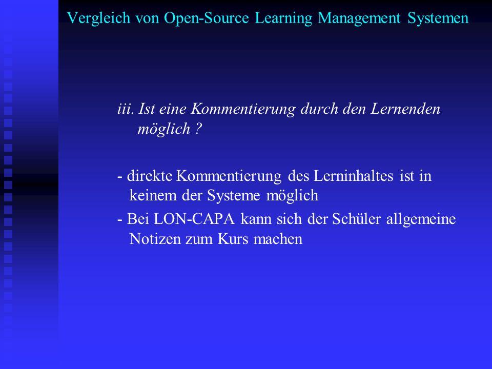 Vergleich von Open-Source Learning Management Systemen iii. Ist eine Kommentierung durch den Lernenden möglich ? - direkte Kommentierung des Lerninhal
