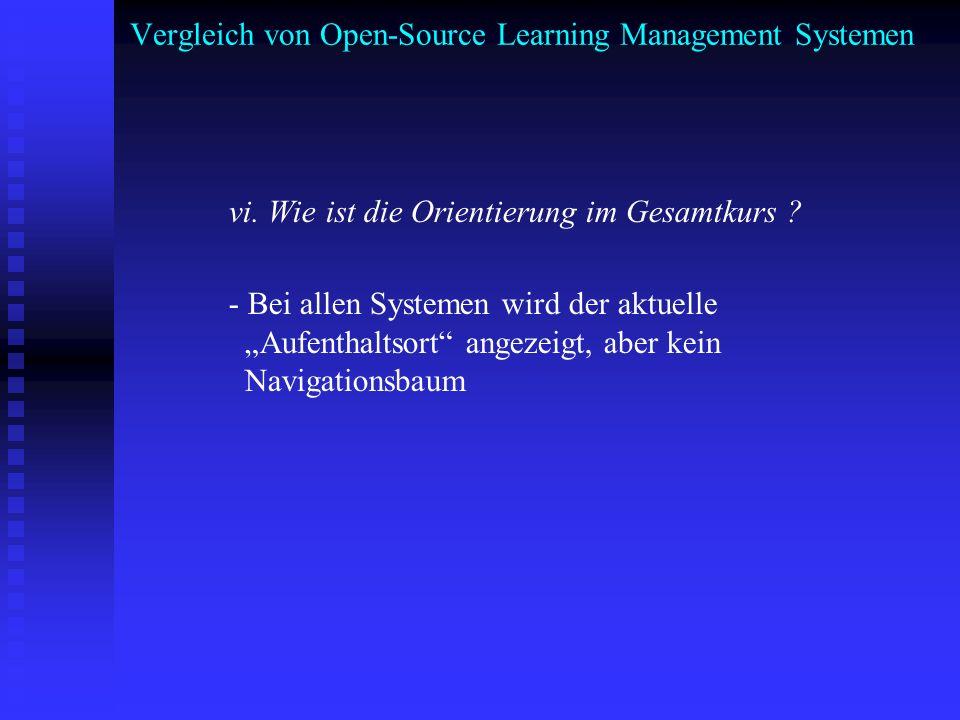 Vergleich von Open-Source Learning Management Systemen vi. Wie ist die Orientierung im Gesamtkurs ? - Bei allen Systemen wird der aktuelle Aufenthalts