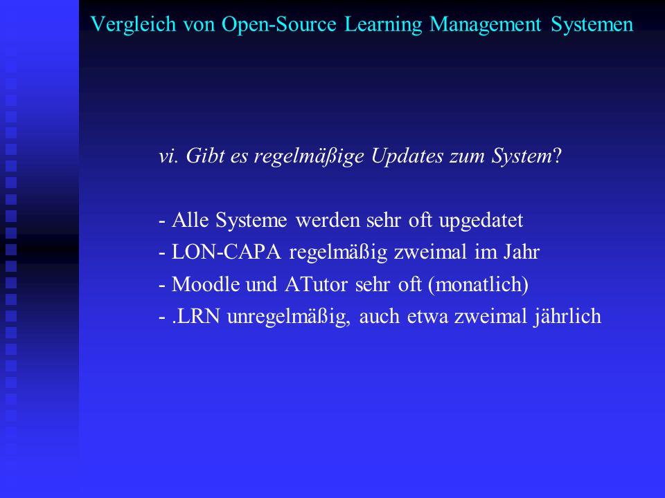 Vergleich von Open-Source Learning Management Systemen vi. Gibt es regelmäßige Updates zum System? - Alle Systeme werden sehr oft upgedatet - LON-CAPA