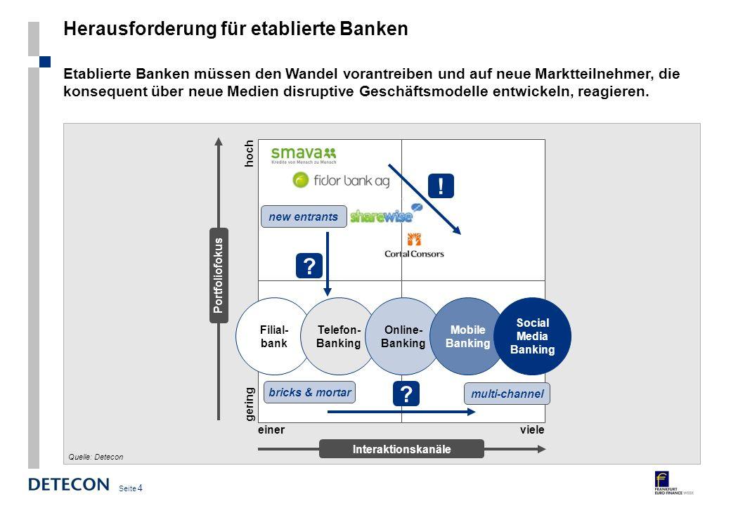 Seite 4 Herausforderung für etablierte Banken Etablierte Banken müssen den Wandel vorantreiben und auf neue Marktteilnehmer, die konsequent über neue Medien disruptive Geschäftsmodelle entwickeln, reagieren.