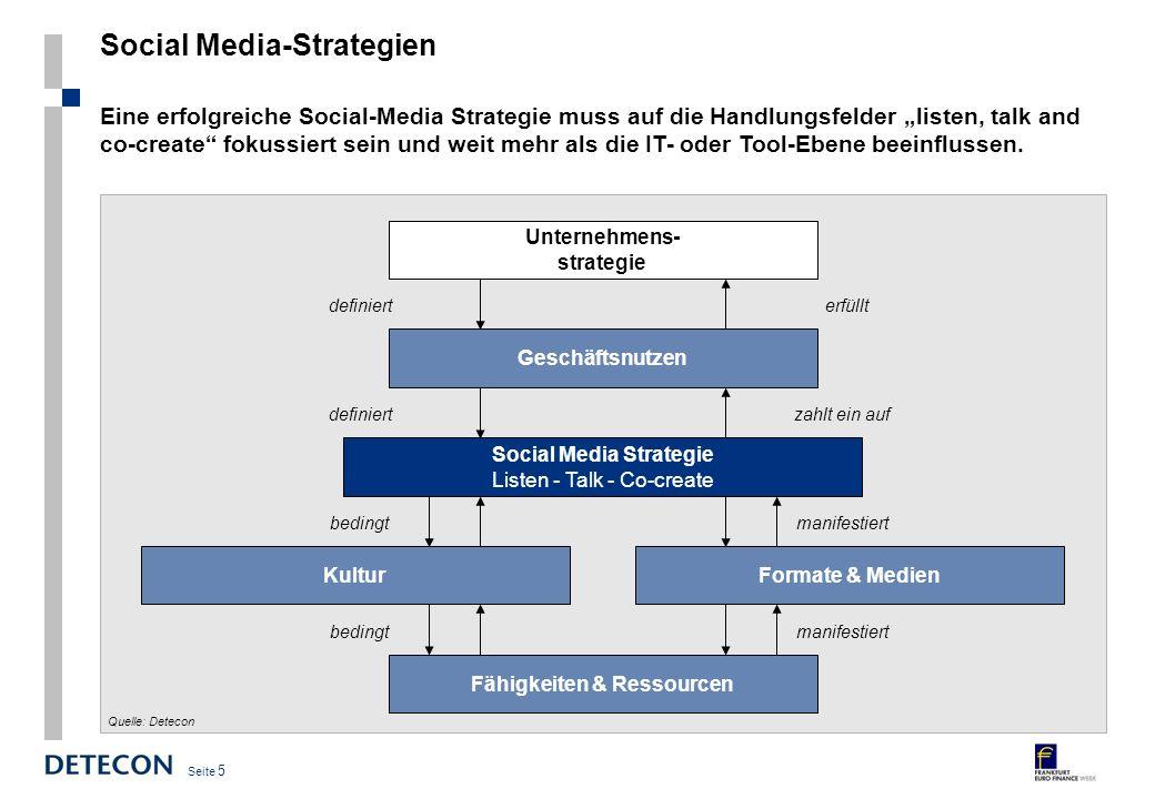 Seite 5 Social Media-Strategien Eine erfolgreiche Social-Media Strategie muss auf die Handlungsfelder listen, talk and co-create fokussiert sein und weit mehr als die IT- oder Tool-Ebene beeinflussen.
