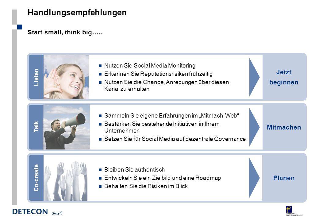 Seite 9 Handlungsempfehlungen Start small, think big…..