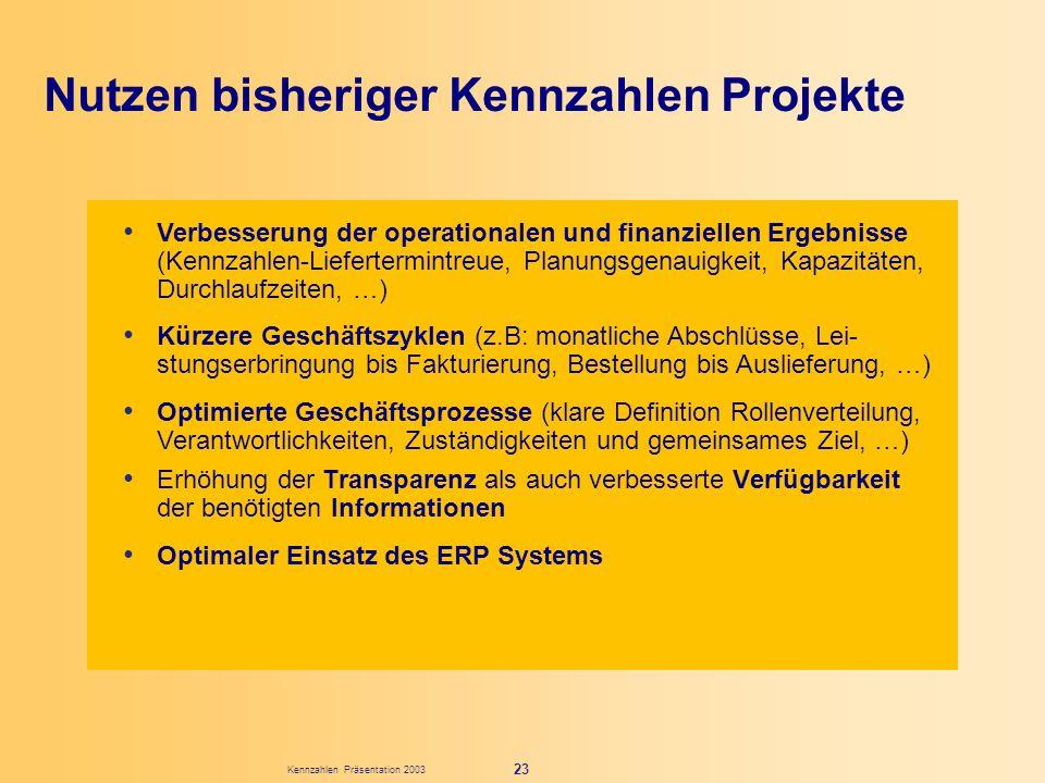 Kennzahlen Präsentation 2003 23 Erhöhung der Transparenz als auch verbesserte Verfügbarkeit der benötigten Informationen Optimaler Einsatz des ERP Sys