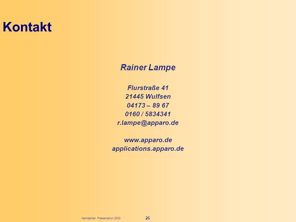 Kennzahlen Präsentation 2003 26 Kontakt Rainer Lampe Flurstraße 41 21445 Wulfsen 04173 – 89 67 0160 / 5834341 r.lampe@apparo.de www.apparo.de applicat