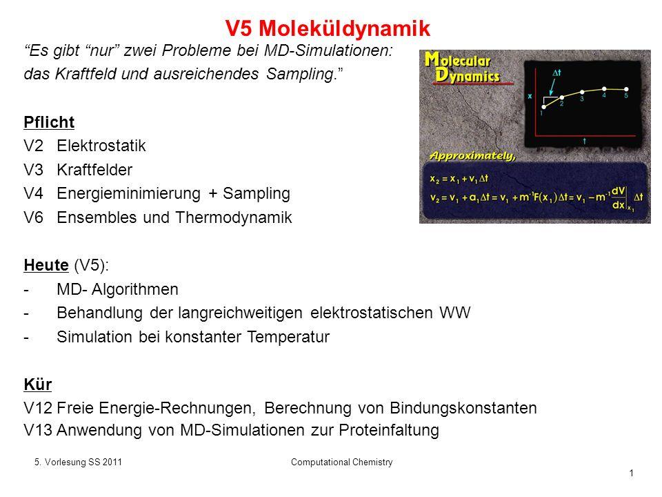 1 5. Vorlesung SS 2011Computational Chemistry V5 Moleküldynamik Es gibt nur zwei Probleme bei MD-Simulationen: das Kraftfeld und ausreichendes Samplin