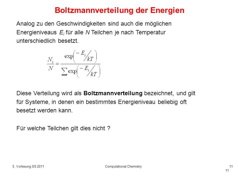 11 5. Vorlesung SS 2011Computational Chemistry11 Analog zu den Geschwindigkeiten sind auch die möglichen Energieniveaus E i für alle N Teilchen je nac