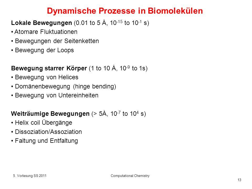 13 5. Vorlesung SS 2011Computational Chemistry Dynamische Prozesse in Biomolekülen Lokale Bewegungen (0.01 to 5 Å, 10 -15 to 10 -1 s) Atomare Fluktuat