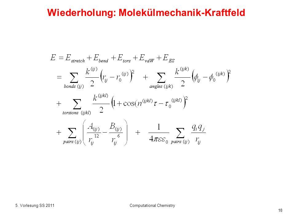 18 5. Vorlesung SS 2011Computational Chemistry Wiederholung: Molekülmechanik-Kraftfeld