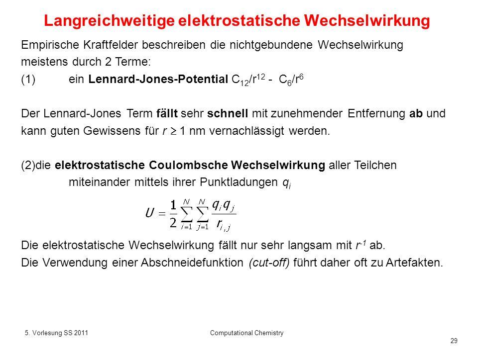 29 5. Vorlesung SS 2011Computational Chemistry Empirische Kraftfelder beschreiben die nichtgebundene Wechselwirkung meistens durch 2 Terme: (1)ein Len
