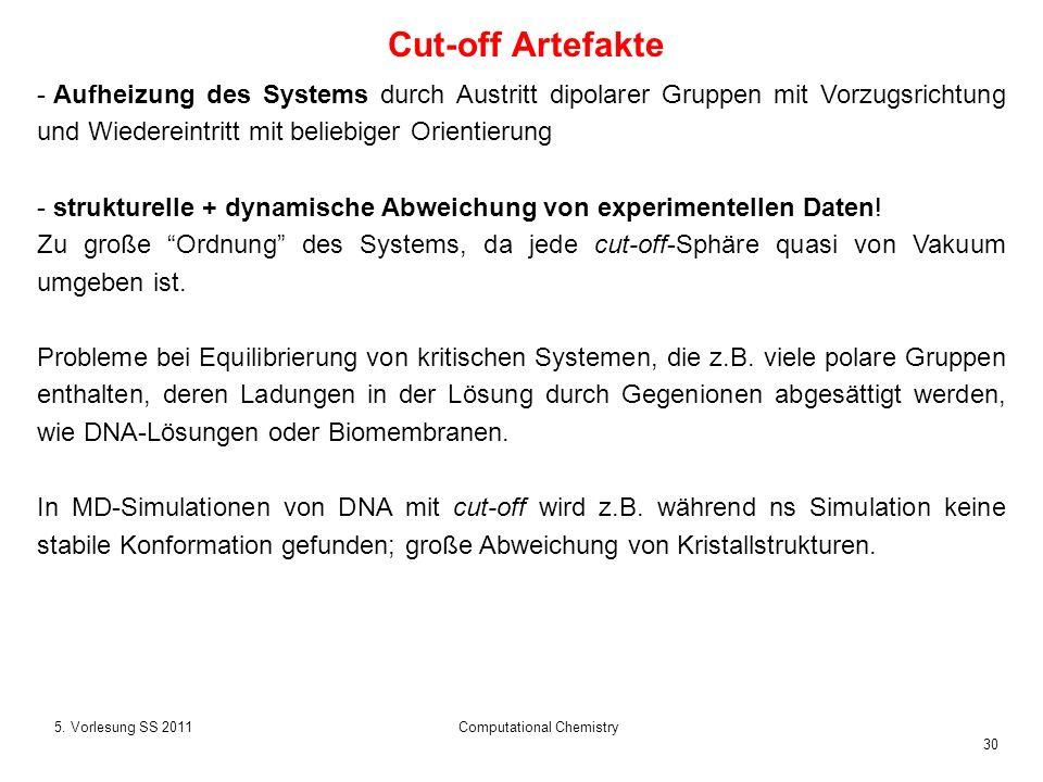 30 5. Vorlesung SS 2011Computational Chemistry - Aufheizung des Systems durch Austritt dipolarer Gruppen mit Vorzugsrichtung und Wiedereintritt mit be