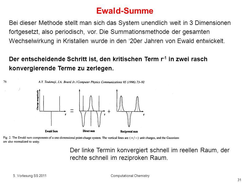 31 5. Vorlesung SS 2011Computational Chemistry Bei dieser Methode stellt man sich das System unendlich weit in 3 Dimensionen fortgesetzt, also periodi