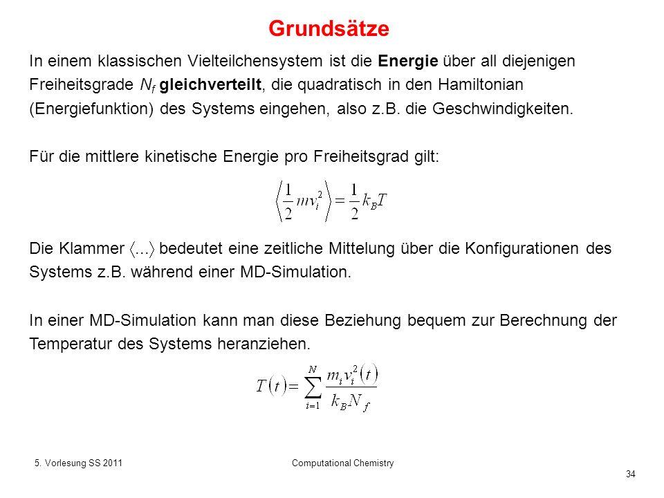 34 5. Vorlesung SS 2011Computational Chemistry Grundsätze In einem klassischen Vielteilchensystem ist die Energie über all diejenigen Freiheitsgrade N