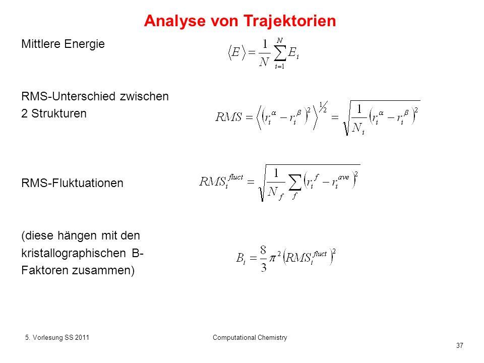 37 5. Vorlesung SS 2011Computational Chemistry Mittlere Energie RMS-Unterschied zwischen 2 Strukturen RMS-Fluktuationen (diese hängen mit den kristall