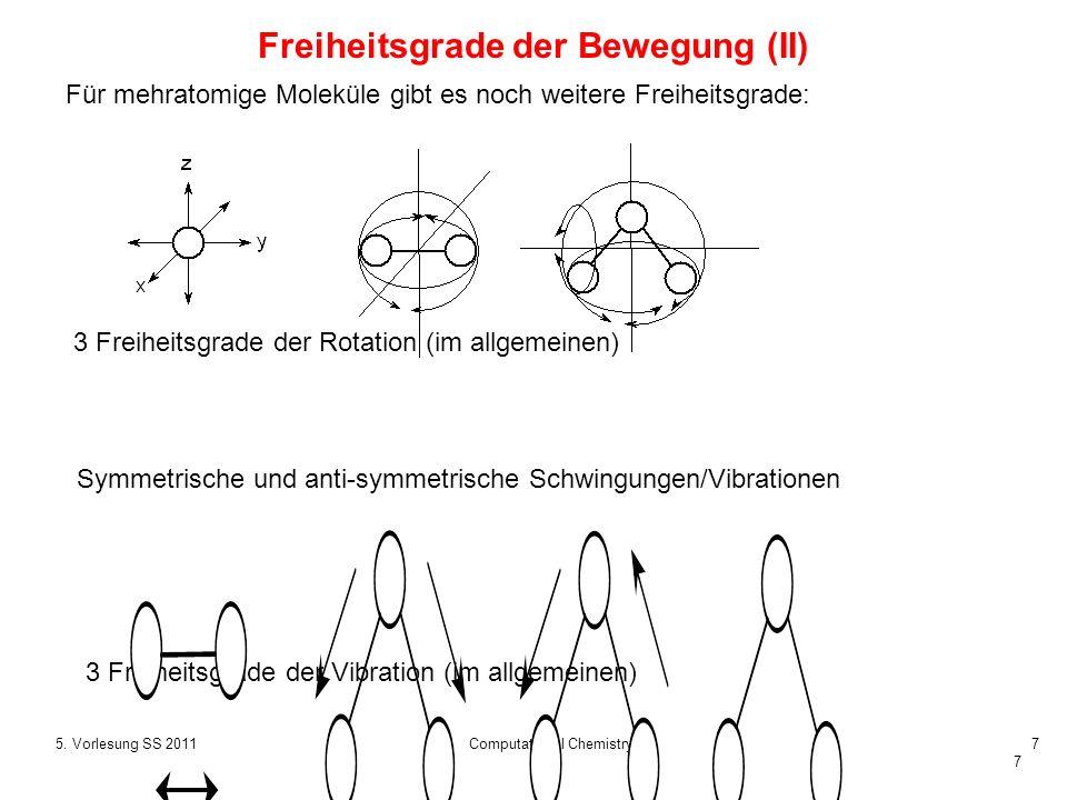7 5. Vorlesung SS 2011Computational Chemistry7 Für mehratomige Moleküle gibt es noch weitere Freiheitsgrade: Freiheitsgrade der Bewegung (II) 3 Freihe