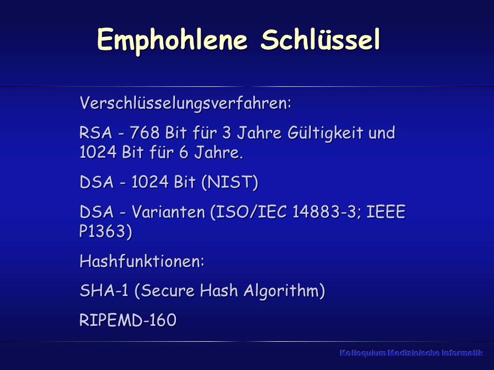 Emphohlene Schlüssel Verschlüsselungsverfahren: RSA - 768 Bit für 3 Jahre Gültigkeit und 1024 Bit für 6 Jahre. DSA - 1024 Bit (NIST) DSA - Varianten (
