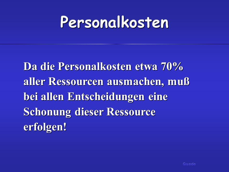 Personalkosten Da die Personalkosten etwa 70% aller Ressourcen ausmachen, muß bei allen Entscheidungen eine Schonung dieser Ressource erfolgen!