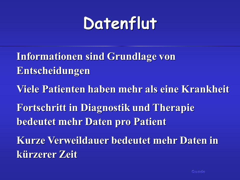 Datenflut Informationen sind Grundlage von Entscheidungen Viele Patienten haben mehr als eine Krankheit Fortschritt in Diagnostik und Therapie bedeute